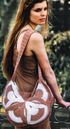 Crochet bag. Free pattern.  Diagram. Italian.