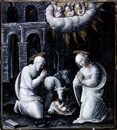 Attribué à Jean II Penicaud (Limoges, fl. c.1532-1549), Nativité, sans date Émail peint sur cuivre, 18,5 x 16,5 cm, Paris, Musée du Louvre.