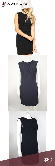 "MNG Mango Basics Navy Blue Crepe Shift Dress New MNG Mango Basics Navy Blue Crepe Sleeveless Shift Dress.  Measurements (flat / un-stretched): Tagged Size: 10 Bust: 38"" Length (shoulder to hem): 35"" Mango Dresses"