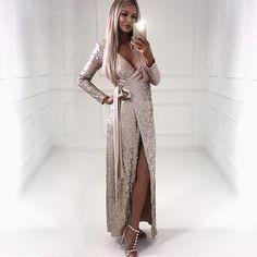 Sexy women Sequin Maxi Dresses Long Sleeve Bodycon Deep V Neck Split Autumn  Elegant Long Dresses 2c266ac04a65