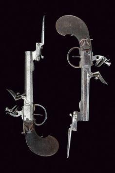 A pair of flintlock pocket pistols with bayonet,     Belgium,   circa 1800.
