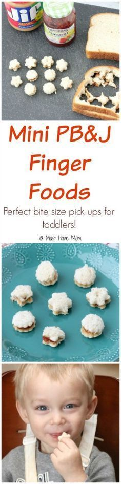 Mini PB&J Finger Foods perfect for toddlers to pick up and self feed! Great for learning to use that pincher grasp and bite size so they can easily chew them up! Recipes For Toddlers, Lunch Ideas For Toddlers, Toddler Food Recipes, Finger Foods For Toddlers, Picky Toddler Meals, Kid Meals, Smoothies For Toddlers, Baby Meals, Healthy Toddler Food