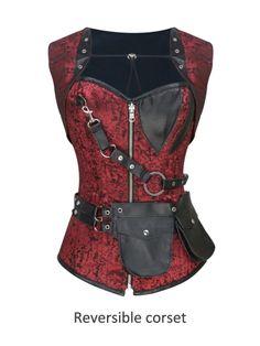 Walkingon Gothic Double Steel Boned #Reversible #Steampunk Overbust #Corset