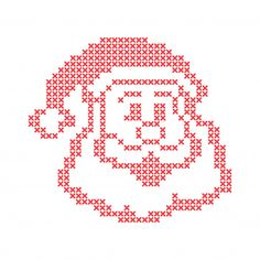 Christmas embroidery cross-stitch with santa claus happy face. merry christmas greeting ca premium Cross Stitch Christmas Cards, Santa Cross Stitch, Christmas Cross, Christmas Tree, Cross Stitching, Cross Stitch Embroidery, Cross Stitch Patterns, Christmas Knitting Patterns, Christmas Embroidery