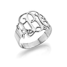 Monogram Ring - Sterling Silver Monogram Rings are trending and this lovely Sterling Silver Ring is a great addition to your jewelry collection. This is an ideal gift for Mom's, bridesmaids and girlfr
