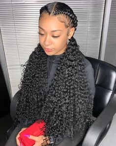Feed In Braids Hairstyles, Box Braids Hairstyles For Black Women, Braids Hairstyles Pictures, Cute Curly Hairstyles, Baddie Hairstyles, Braids For Black Hair, Sleek Hairstyles, Natural Hair Braids, Curly Hair Tips