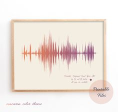 Personalised Soundwave Print, Sound Wave Printable, Personalised  Art, Song Music Heartbeat Voice Holiday Gift Idea, Sound Wave Art Anniversary Gift Ideas For Him Boyfriend, College Grad Gifts, Printable Art, Printables, Wave Art, Sound Waves, Color Themes, That Way, Art
