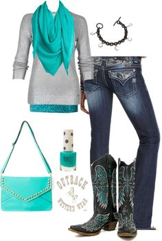 """""""Aqua and Silver"""" by crzrdnk77 on Polyvore"""