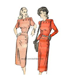 40s DRESS PATTERN Asymmetrical Fitted Wiggle Dress Frock with Button Detail Bust 38 Advance 4748 at DesignRewindFashions - Vintage & Modern Sewing Patterns