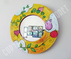 Whimsy World Mirror Mirror Makeover, Diy Mirror, Mirror Painting, Tole Painting, Funky Mirrors, Dance Mirrors, Diy Wall Decor For Bedroom, Gold Highlights, Paint Designs