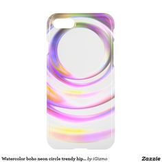 Watercolor boho neon circle trendy hipster clear