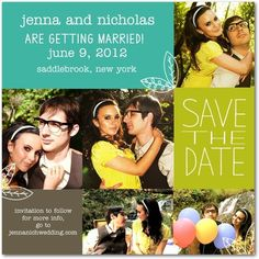 Save the Date.  Different Pictures in blocks.  Love the leaves too.  Could I add those somehow??