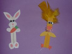 Ramblings of a Crazy Woman: Craft Stick Bunny and Chick