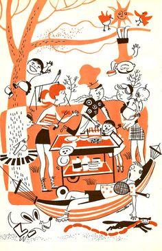 Backyard Cookout Illustration