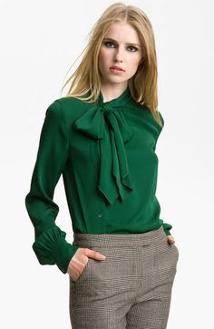 1f52a61316f06 Maryna Side Placket Blouse - Lyst off center tie neck Green Blouse Outfit