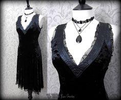 Shabby Gothic Black Crushed Velvet Slashed Lace Dress S 8 10 Dark Mori Romantic | THE WILTED ROSE GARDEN