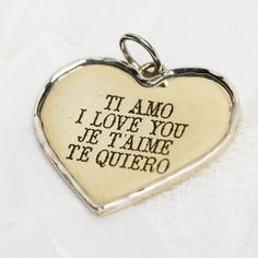 Love languages charm #2062 > RRP $AUD39.60 | PALAS Jewellery I Love You, My Love, Love Languages, Lucky Charm, Charm Jewelry, Flask, Butterfly, Charmed, Jewellery
