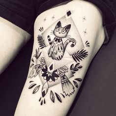 "Violette Chabanon (@violette_bleunoir) on Instagram: ""Jiji de Kiki la petite Sorcière, un grand merci Samantha ! #Jiji #miyazaki #kikilapetitesorciere"" #tattoo"