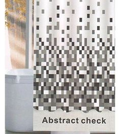 Linenwalas Abstract Check Design Water Repellent Bathroom… Bathroom Essentials, Bathroom Shower Curtains, Home Kitchens, Fancy, Abstract, Water, Plastic, Check, Design