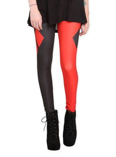 Stretch leggings with Harley Quinn costume design.