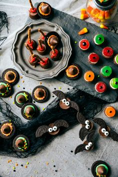Easy, cute, festive, and fun-to-make Halloween treats -- each with three ingredients or less. Monster eyeballs, witches hats, witches brooms, and bat bites.