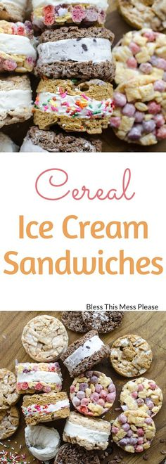 Cereal Ice Cream Sandwiches ~ I can't wait for you to make this perfect summer treat with your kids. Make a double batch and pop half in the freezer for later! Homemade Desserts, Frozen Desserts, Frozen Treats, Delicious Desserts, Frozen Fruit, Frozen Yogurt, Fun Desserts, Ice Cream Pies, Ice Cream Treats