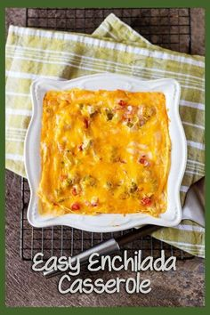 A simple enchilada casserole made with two types of cheese, green chiles, and roasted tomatoes. A great recipe for your next Cinco De Mayo celebration. #CincoDeMay #cheesy #enchilada #casserole #easy via @berlyskitchen
