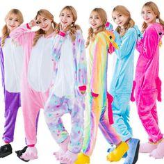 Hot Unisex Adults unicorn Pajamas Kigurumi Cosplay Costume Animal Sleepwear  unicorn Pajamas Adults fe98dbf35