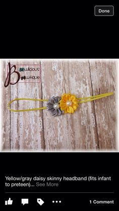 Yellow and gray skinny bow