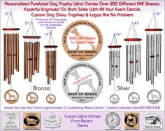 Purebred AKC Custom Dog Show Trophy Wind Chimes, Awards Worth Winning!