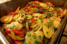 Patatas a lo Pobre (Poor Man's Potatoes) is a dish I tried in Cordoba, Spain, and just had to recreate at home. Potatoes, capsicum, thyme, bay leaves, parsley, egg, balsamic vinegar.