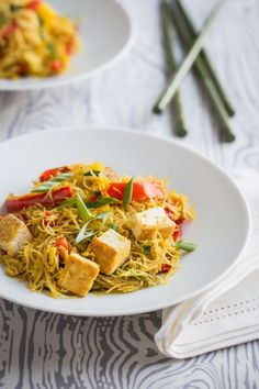 Singapore Noodles with Pan-Fried Tofu