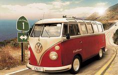 Volkswagen California Cruisin' VW Bus Vintage Car Poster 24 x 36 inches Volkswagen Bus, Vw Camper, Vw Caravan, Vw T1, Volkswagen Transporter, Vw California Camper, Vw California Beach, Vintage California, Southern California