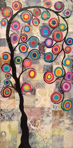 Kerri Ambrosino Original Art 10x20 Mexican Folk Art Festive Tree of Life Art Collage with Vintage papers flowers