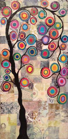 Kerri Ambrosino Original Art 10x20 Mexican Folk Art Festive Tree of Life Art Collage with Vintage papers flowers