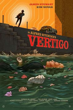 Vertigo is an American film noir psychological thriller film directed and produced by Alfred Hitchcock. Disney Movie Posters, Classic Movie Posters, Horror Movie Posters, Cinema Posters, Art Posters, Vintage Posters, Vertigo Alfred Hitchcock, Alfred Hitchcock The Birds, Hitchcock Film
