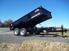 7 x 14 dump trailer with 3 ft sides equipment ramps and scissor lift Best Trailers, Dump Trailers, Covered Wagon, Box Frames, Heavy Equipment, Ebay, Things To Sell, Dump Trucks
