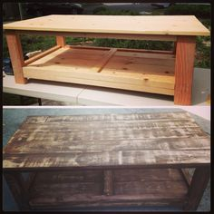 DIY coffee table #diy #coffee #table We stained this and then sanded it down and was in love with the finish.