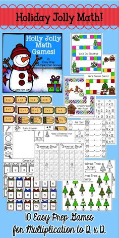Your students will love practicing multiplication facts with these winter and Christmas themed games!  Printed in color or black & white, the games are perfect for centers, partners, or small groups!