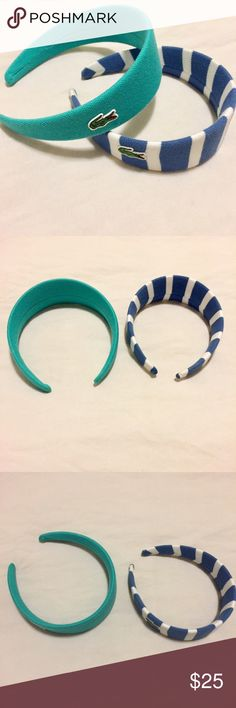 Lacoste Headband Bundle Authentic Lacoste Headband bundle. Blue and white stripe headband is NWOT-never worn, excellent condition. The other is Teal colored and is in EUC-used a few times, like new condition. Can fit both adults or kids. Accessories Hair Accessories