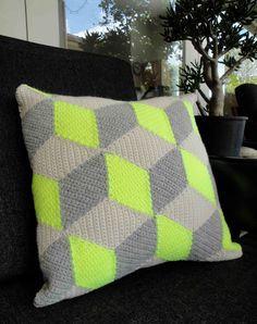 Neon Yellow Isometric Crochet Pillow / Cushion.