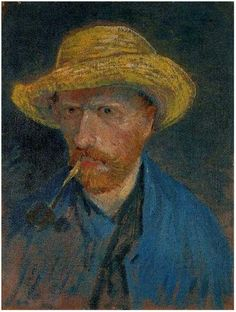 """Van Gogh . !887 . Self-portrait with straw hat and pipe.    """"I am not an adventurer by choice but by fate"""""""
