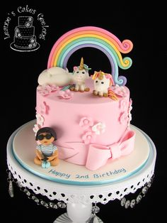 Rainbows and unicorns, pink and flowers. All the things a little girl loves plus the iphone of course. Inside are colourful pastel layers with buttercream. Love Plus, Rainbow Unicorn, How To Make Cake, Cake Decorating, Special Occasion, Little Girls, Wedding Cakes, Birthday Cake, Pastel