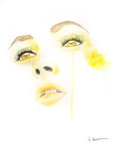 'Girl With The Golden Eyes' Portrait Painting by Guinevere Saunders Artist Watercolour on 140lb Watercolor Paper 2014
