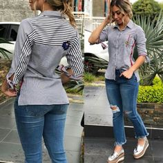 Love a shirt and jeans combination ღ Awesome fashion clothes for stylish women from Zefinka. Look Fashion, Fashion Clothes, Fashion Outfits, Womens Fashion, Looks Chic, Casual Looks, Stylish Kurtis Design, Look Office, Shirt Makeover