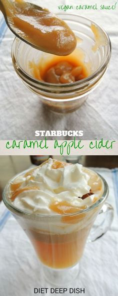 The healthy version of Starbucks Caramel Apple Cider!  Warm apple cider is spiced up with a creamy VEGAN caramel sauce that is NOT full of sugar!   Diet Deep Dish