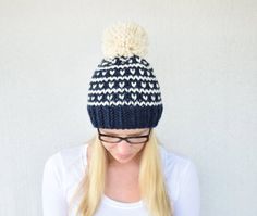 Fair Isle Knitted Hat Knitted Hat with Pom by CountryPineDesigns