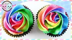 Rainbow Cupcakes, how to make Rainbow Rose Cupcakes, Rainbow Cake, Rose Cupcakes DIY easy yummy cupcakes. This is a video inspired by rainbow cookies, rose c. Rose Frosting, Buttercream Roses, Cupcake Frosting, Cupcake Cakes, Rainbow Desserts, Rainbow Treats, Rainbow Food, Rainbow Frosting, Rainbow Cupcakes
