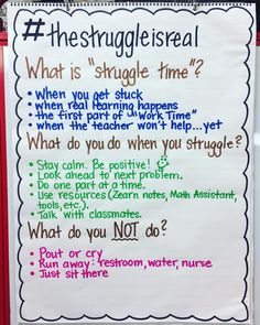 Struggle time anchor chart
