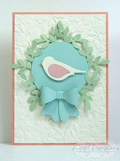Stampin' Up! Bird Builder punch, Bow Builder punch & Spring Flowers embossing folder